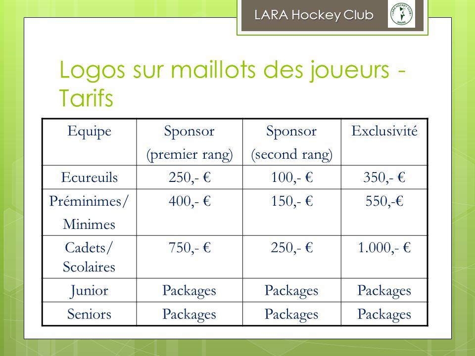 Logos sur maillots des joueurs - Tarifs LARA Hockey Club EquipeSponsor (premier rang) Sponsor (second rang) Exclusivité Ecureuils250,- 100,- 350,- Pré