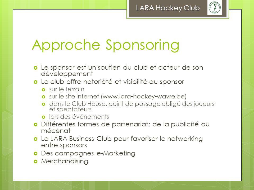 Approche Sponsoring Le sponsor est un soutien du club et acteur de son développement Le club offre notoriété et visibilité au sponsor sur le terrain s