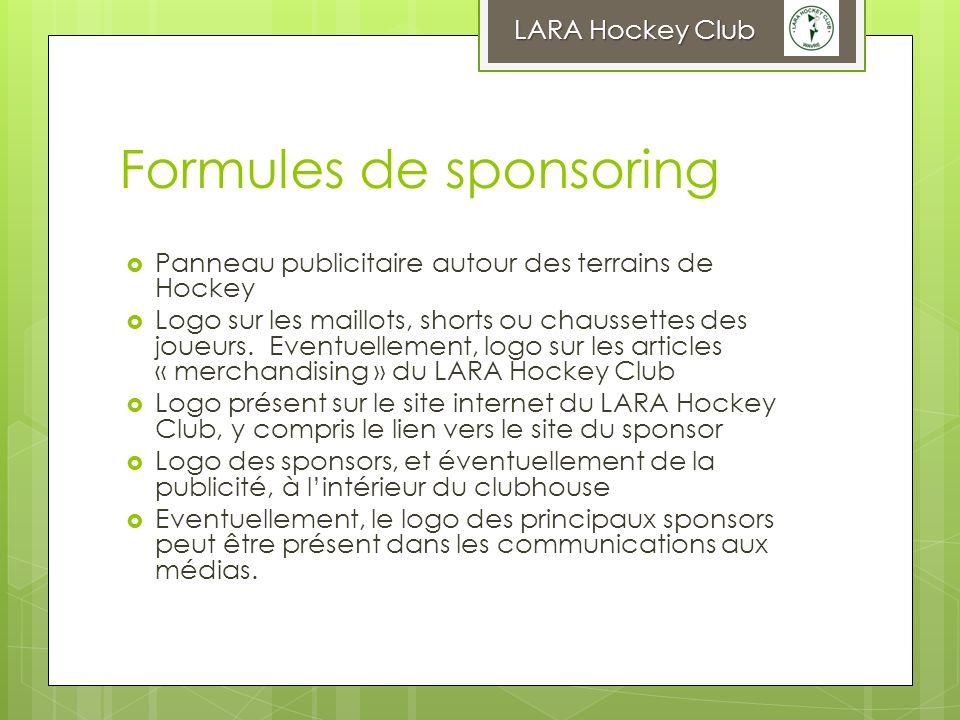 Formules de sponsoring Panneau publicitaire autour des terrains de Hockey Logo sur les maillots, shorts ou chaussettes des joueurs. Eventuellement, lo