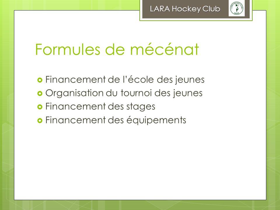 Formules de mécénat Financement de lécole des jeunes Organisation du tournoi des jeunes Financement des stages Financement des équipements LARA Hockey