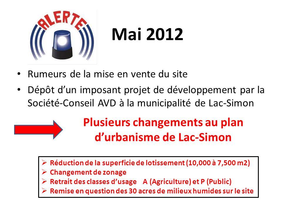 Mai 2012 Rumeurs de la mise en vente du site Dépôt dun imposant projet de développement par la Société-Conseil AVD à la municipalité de Lac-Simon Plus