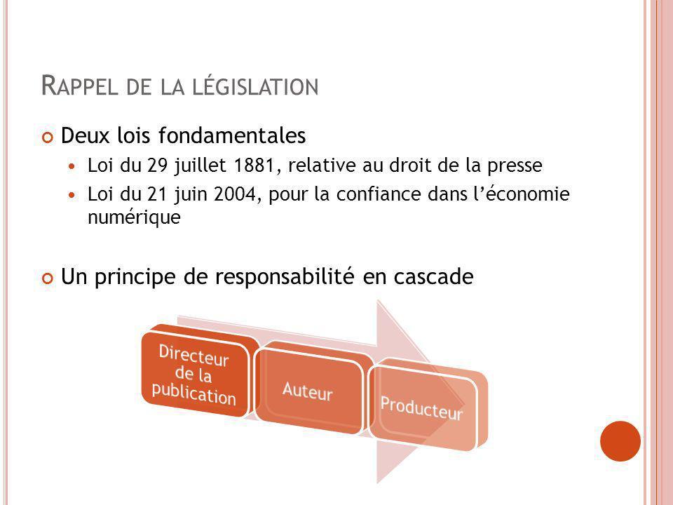 R APPEL DE LA LÉGISLATION Deux lois fondamentales Loi du 29 juillet 1881, relative au droit de la presse Loi du 21 juin 2004, pour la confiance dans l