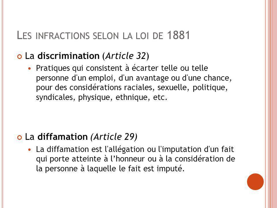 L ES INFRACTIONS SELON LA LOI DE 1881 La discrimination (Article 32) Pratiques qui consistent à écarter telle ou telle personne d'un emploi, d'un avan