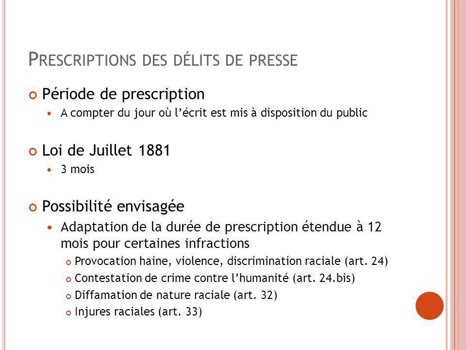 P RESCRIPTIONS DES DÉLITS DE PRESSE Période de prescription A compter du jour où lécrit est mis à disposition du public Loi de Juillet 1881 3 mois Pos