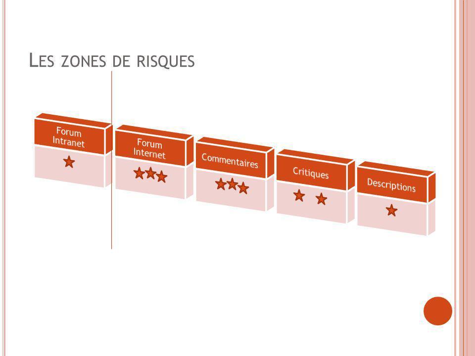 P RINCIPES GÉNÉRAUX Traçabilité des utilisateurs identifiés Application dun filtre à score aux messages Signaler un abus à tout moment Acceptation Charte de bonne conduite Mentions juridiques Zone Intranet Identification des utilisateurs à partir du fichier RH