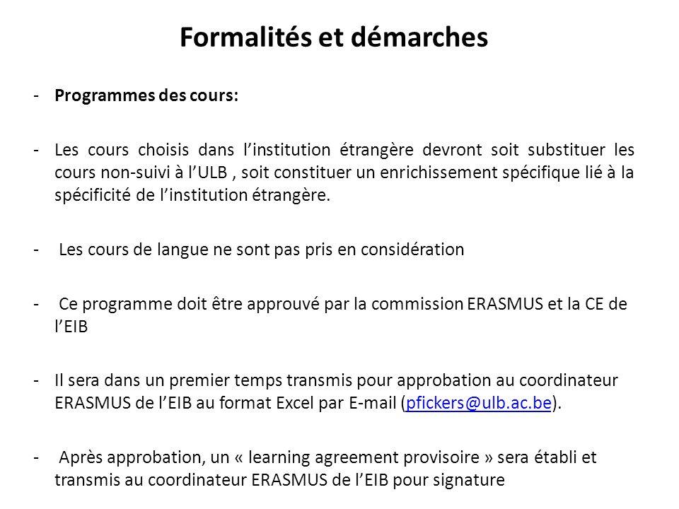 Formalités et démarches -Programmes des cours: -Les cours choisis dans linstitution étrangère devront soit substituer les cours non-suivi à lULB, soit