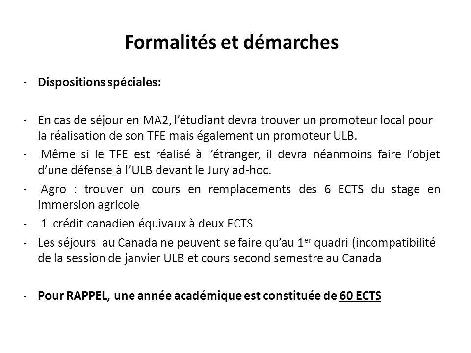 Formalités et démarches -Dispositions spéciales: -En cas de séjour en MA2, létudiant devra trouver un promoteur local pour la réalisation de son TFE m