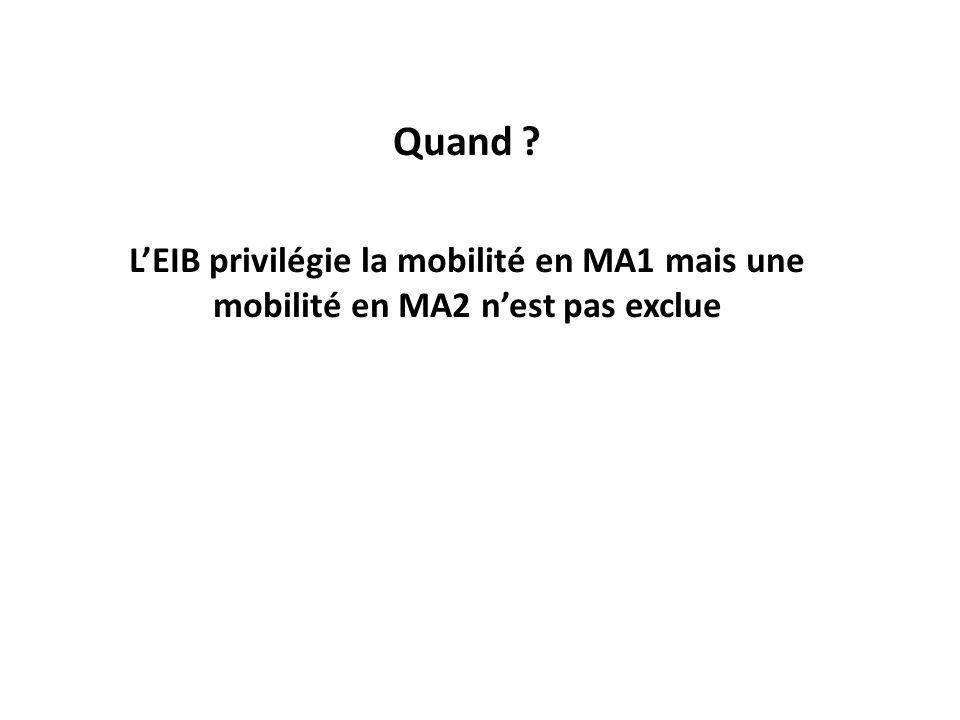 Quand ? LEIB privilégie la mobilité en MA1 mais une mobilité en MA2 nest pas exclue