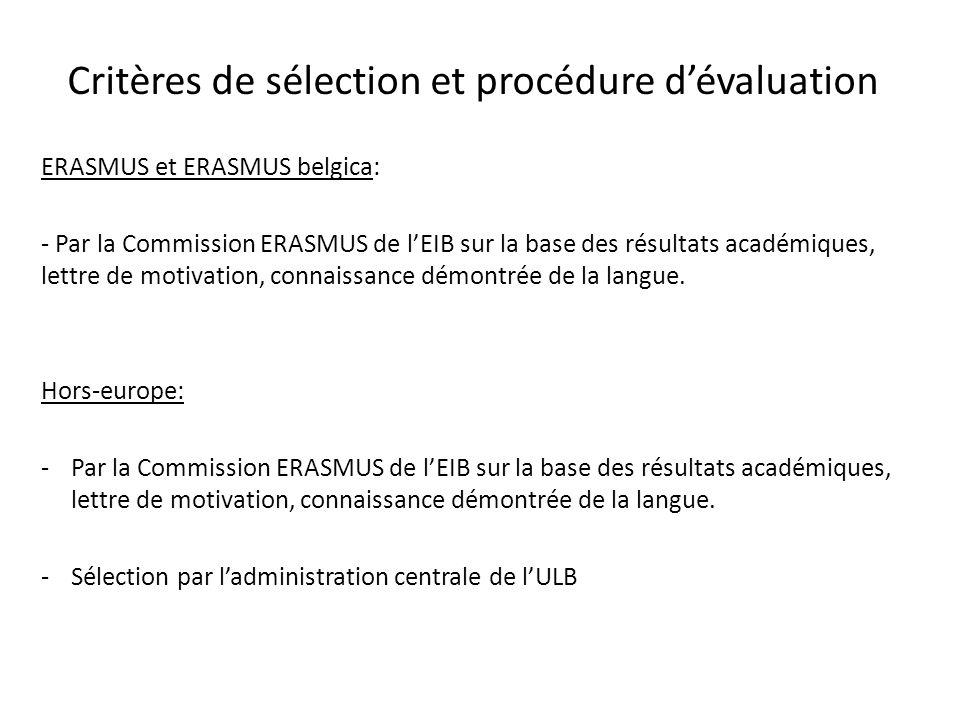 Critères de sélection et procédure dévaluation ERASMUS et ERASMUS belgica: - Par la Commission ERASMUS de lEIB sur la base des résultats académiques,