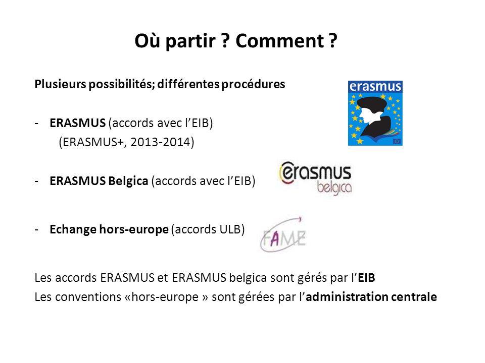 Où partir ? Comment ? Plusieurs possibilités; différentes procédures -ERASMUS (accords avec lEIB) (ERASMUS+, 2013-2014) -ERASMUS Belgica (accords avec