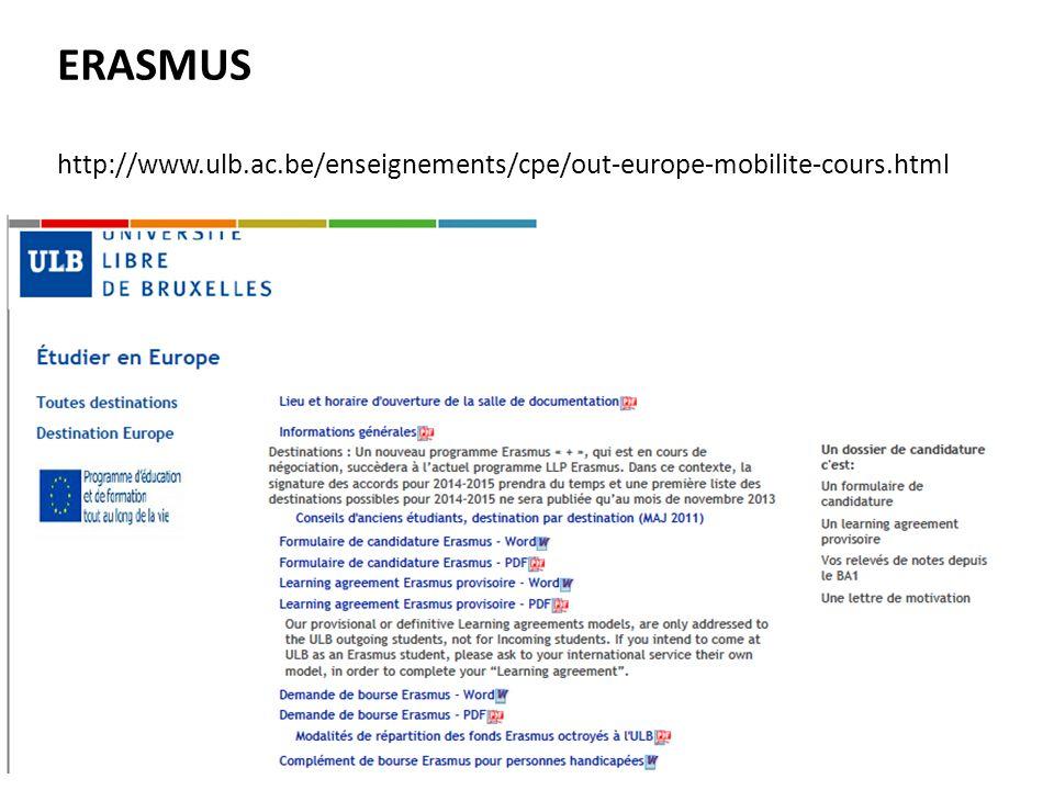 Calendrier des échéances Dates importantes échanges Hors-europe: 15 novembre 2013 : soumission du programme des cours au coordinateur EIB 22 novembre 2013 : décision de la commission ERASMUS de lEIB en cas darbitrage (plusieurs étudiants/destination) 29 novembre 2013 : dépôt des formulaires au SME