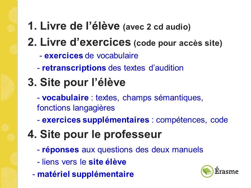 1. Livre de lélève (avec 2 cd audio) 2. Livre dexercices (code pour accès site) - exercices de vocabulaire - retranscriptions des textes daudition 3.