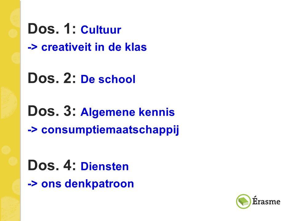 Dos. 1: Cultuur -> creativeit in de klas Dos. 2: De school Dos. 3: Algemene kennis -> consumptiemaatschappij Dos. 4: Diensten -> ons denkpatroon
