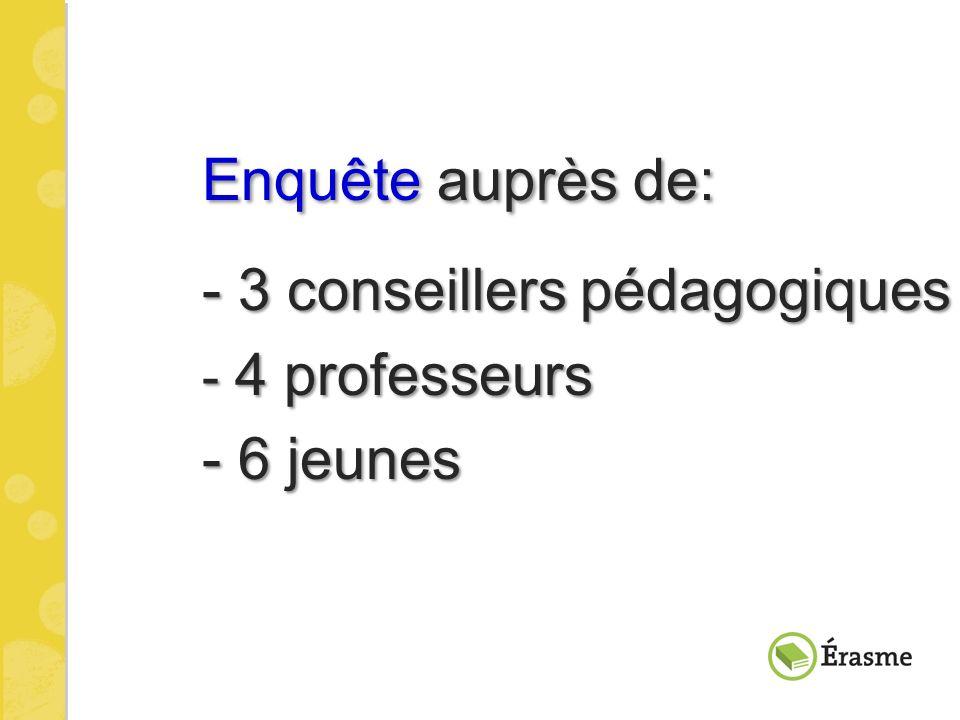 Enquête auprès de: - 3 conseillers pédagogiques - 3 conseillers pédagogiques - 4 professeurs - 4 professeurs - 6 jeunes - 6 jeunes
