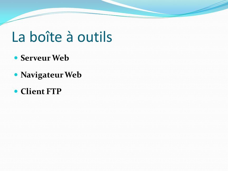 La boîte à outils Serveur Web Navigateur Web Client FTP