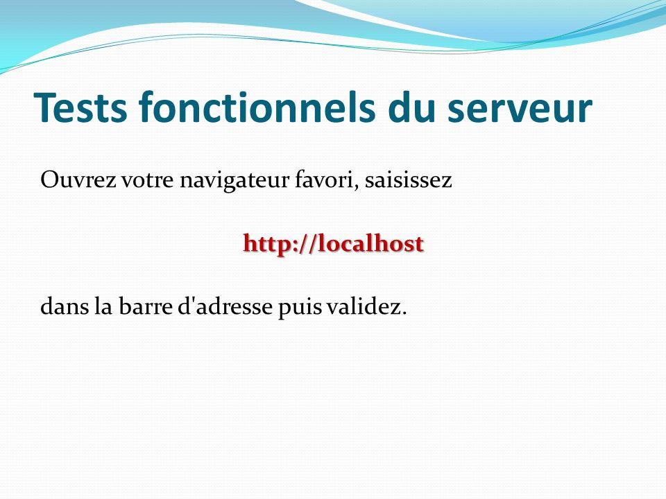 Tests fonctionnels du serveur Ouvrez votre navigateur favori, saisissezhttp://localhost dans la barre d'adresse puis validez.