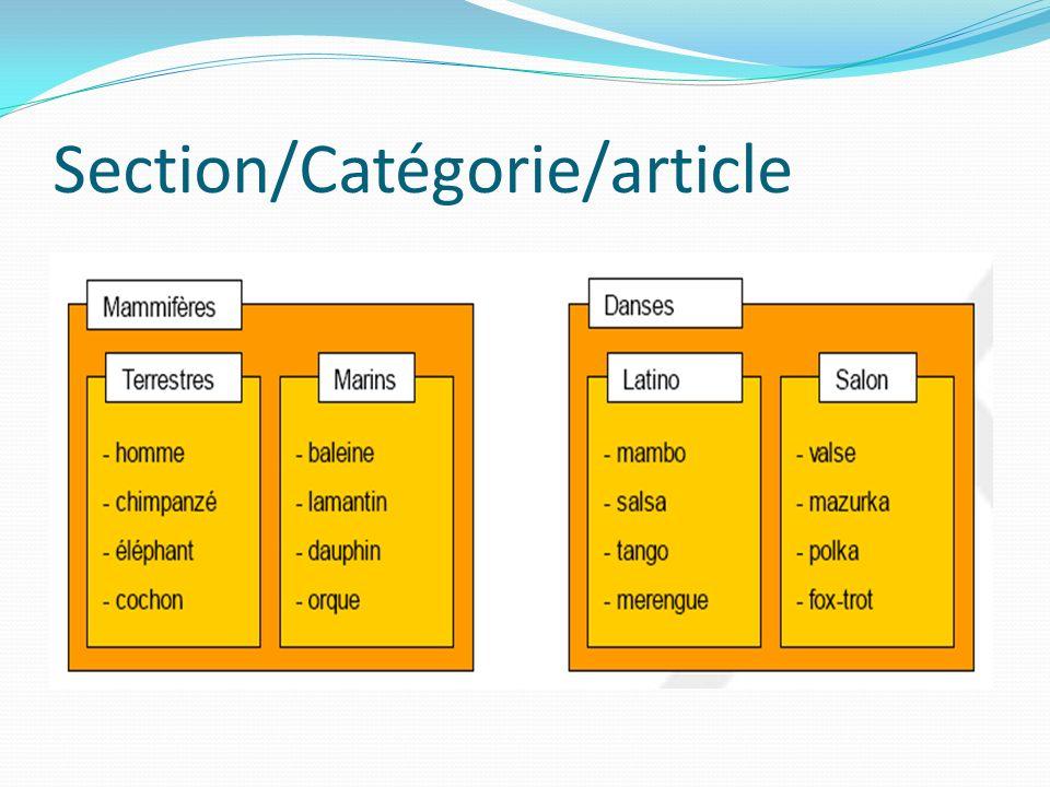 Section/Catégorie/article