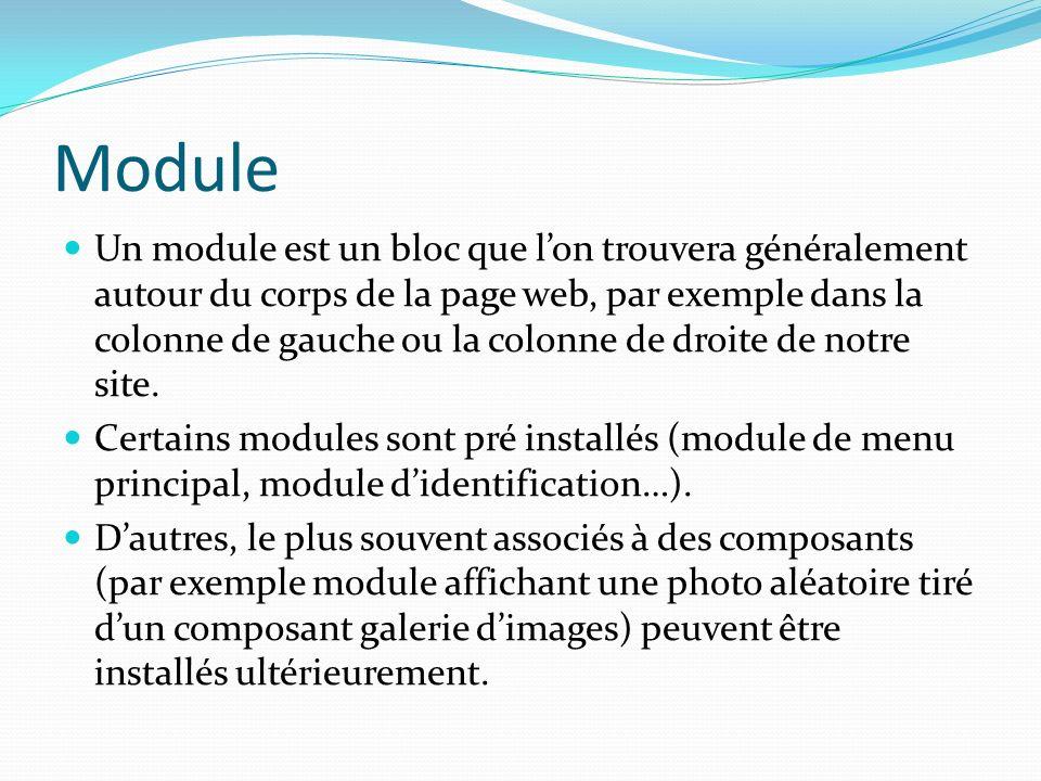 Module Un module est un bloc que lon trouvera généralement autour du corps de la page web, par exemple dans la colonne de gauche ou la colonne de droite de notre site.