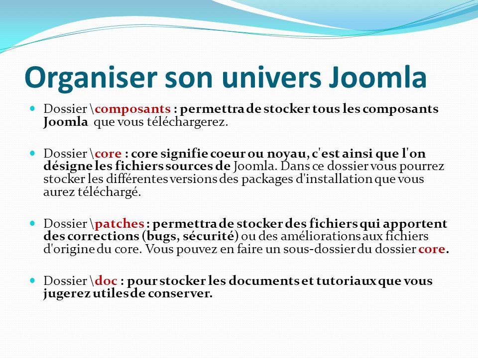 Organiser son univers Joomla Dossier \composants : permettra de stocker tous les composants Joomla que vous téléchargerez. Dossier \core : core signif