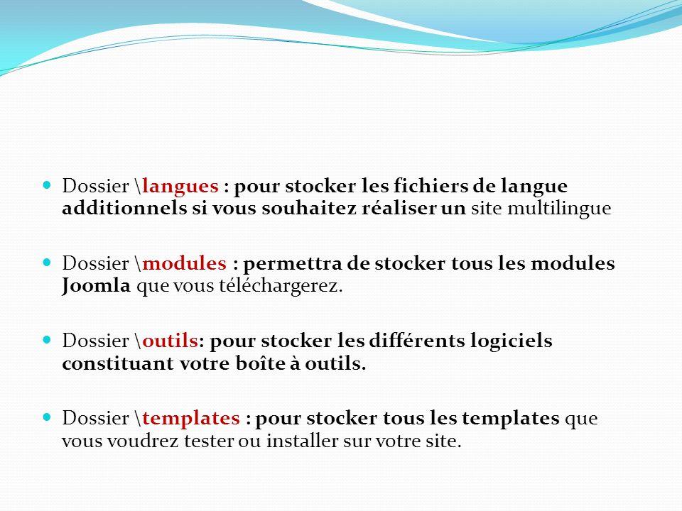 Dossier \langues : pour stocker les fichiers de langue additionnels si vous souhaitez réaliser un site multilingue Dossier \modules : permettra de sto