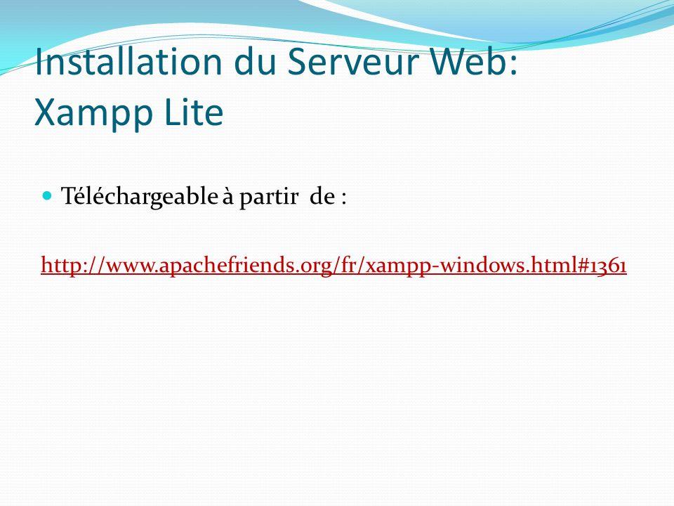 Tests fonctionnels du serveur Ouvrez votre navigateur favori, saisissezhttp://localhost dans la barre d adresse puis validez.