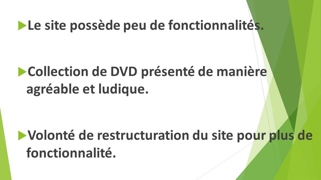 Le site possède peu de fonctionnalités. Collection de DVD présenté de manière agréable et ludique.