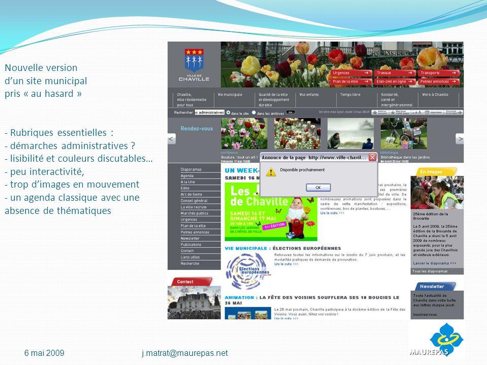 Nouvelle version dun site municipal pris « au hasard » - Rubriques essentielles : - démarches administratives .