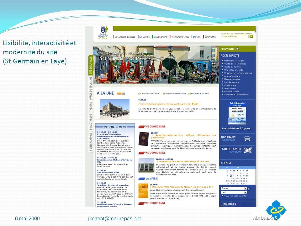 Lisibilité, interactivité et modernité du site (St Germain en Laye) 6 mai 2009j.matrat@maurepas.net