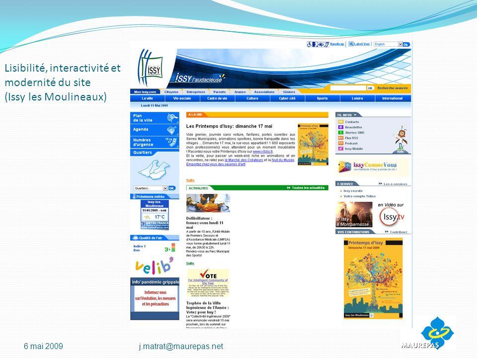 Lisibilité, interactivité et modernité du site (Issy les Moulineaux) 6 mai 2009j.matrat@maurepas.net