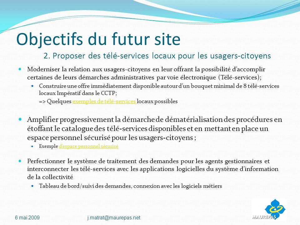 Objectifs du futur site 2.