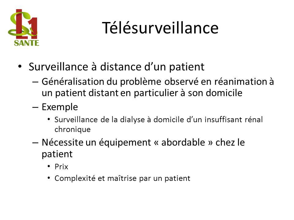 Télésurveillance Surveillance à distance dun patient – Généralisation du problème observé en réanimation à un patient distant en particulier à son dom