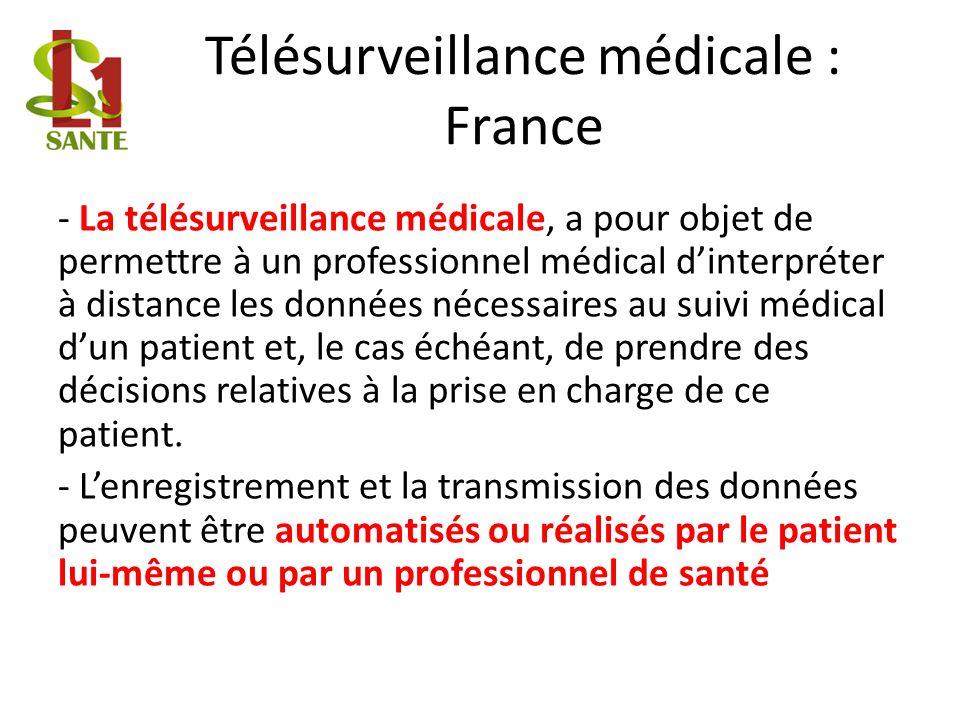 Télésurveillance médicale : France - La télésurveillance médicale, a pour objet de permettre à un professionnel médical dinterpréter à distance les do