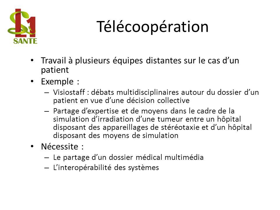 Télécoopération Travail à plusieurs équipes distantes sur le cas dun patient Exemple : – Visiostaff : débats multidisciplinaires autour du dossier dun