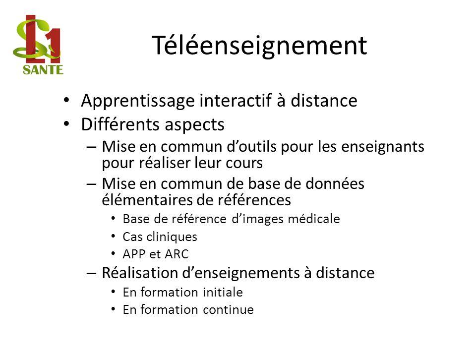 Téléenseignement Apprentissage interactif à distance Différents aspects – Mise en commun doutils pour les enseignants pour réaliser leur cours – Mise