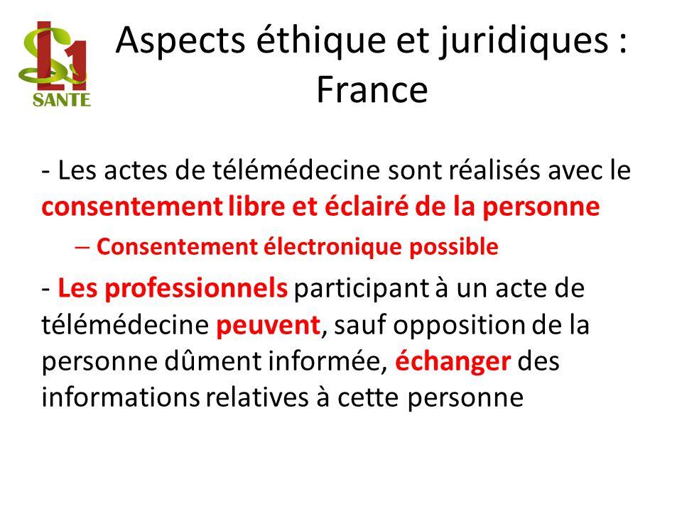 Aspects éthique et juridiques : France - Les actes de télémédecine sont réalisés avec le consentement libre et éclairé de la personne – Consentement é