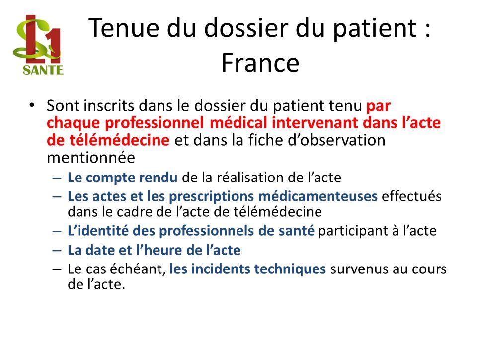 Tenue du dossier du patient : France Sont inscrits dans le dossier du patient tenu par chaque professionnel médical intervenant dans lacte de téléméde