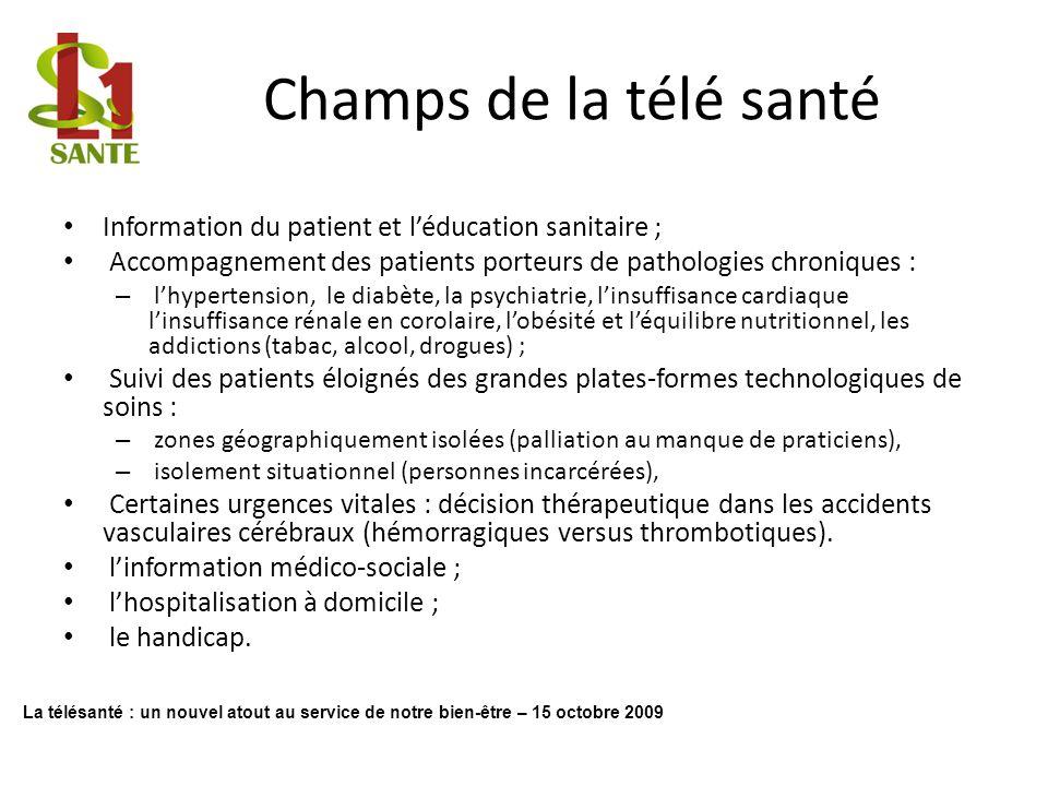 Champs de la télé santé Information du patient et léducation sanitaire ; Accompagnement des patients porteurs de pathologies chroniques : – lhypertens