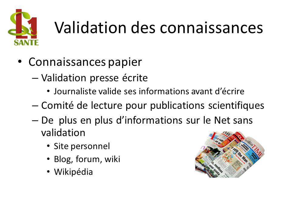 Validation des connaissances Connaissances papier – Validation presse écrite Journaliste valide ses informations avant décrire – Comité de lecture pou