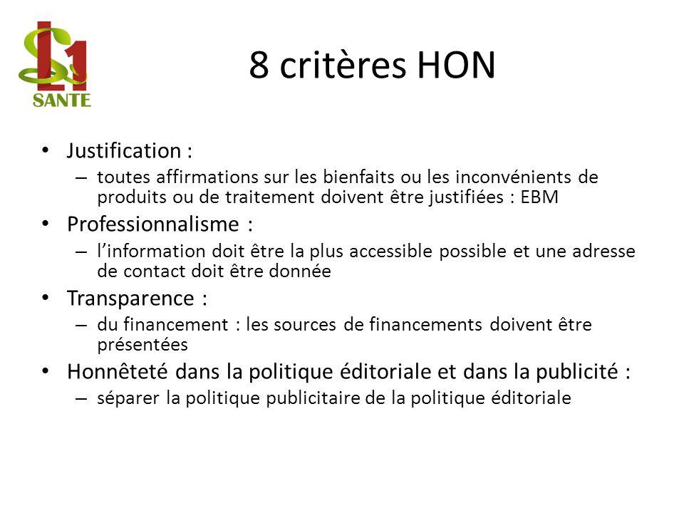 8 critères HON Justification : – toutes affirmations sur les bienfaits ou les inconvénients de produits ou de traitement doivent être justifiées : EBM