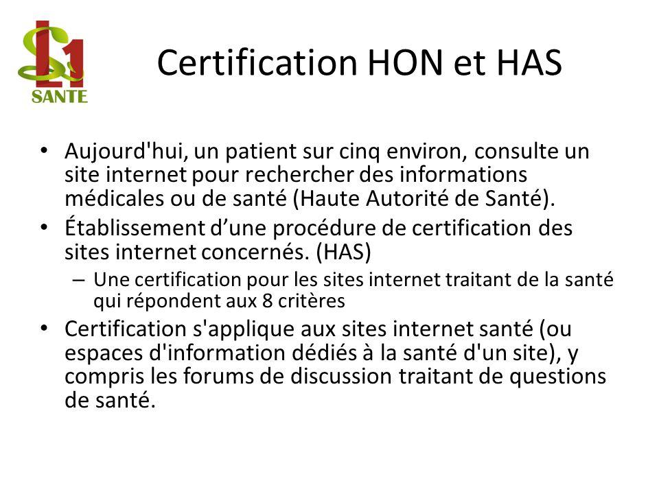 Certification HON et HAS Aujourd'hui, un patient sur cinq environ, consulte un site internet pour rechercher des informations médicales ou de santé (H