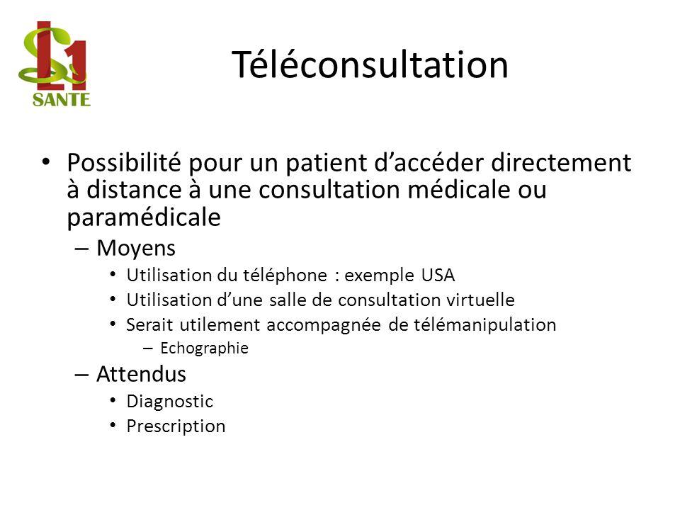 Téléconsultation Possibilité pour un patient daccéder directement à distance à une consultation médicale ou paramédicale – Moyens Utilisation du télép