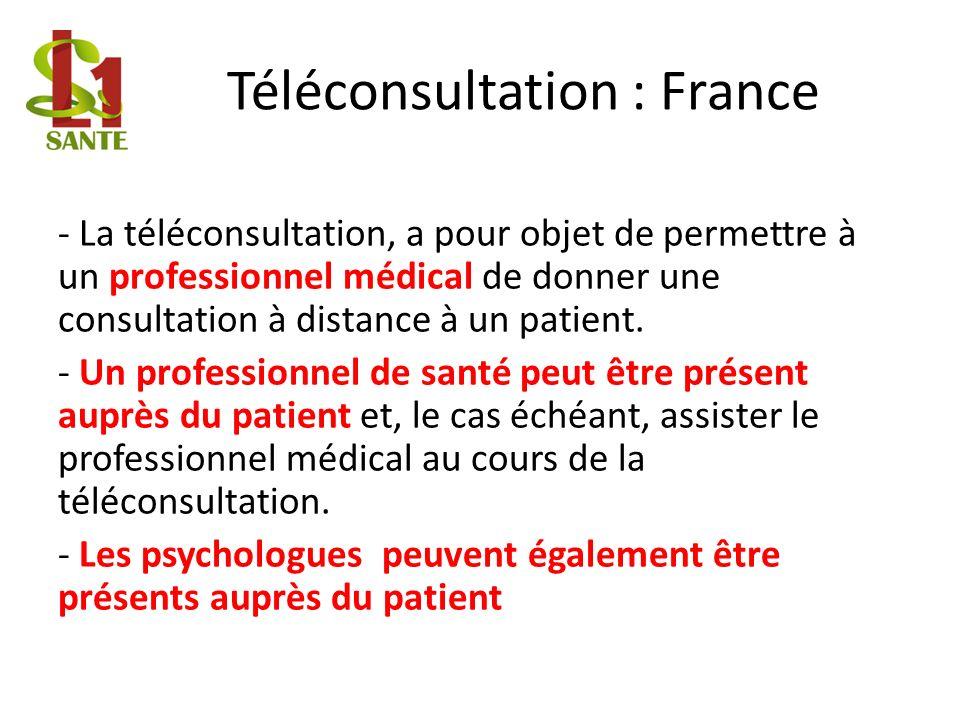 Téléconsultation : France - La téléconsultation, a pour objet de permettre à un professionnel médical de donner une consultation à distance à un patie