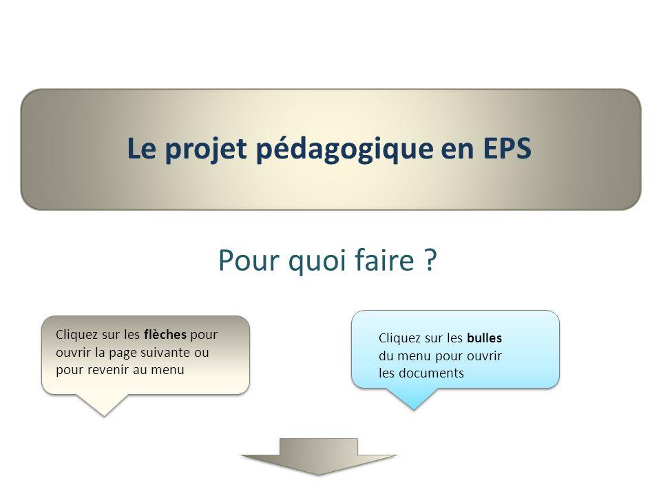 Le projet pédagogique en EPS Pour quoi faire ? Cliquez sur les flèches pour ouvrir la page suivante ou pour revenir au menu Cliquez sur les bulles du