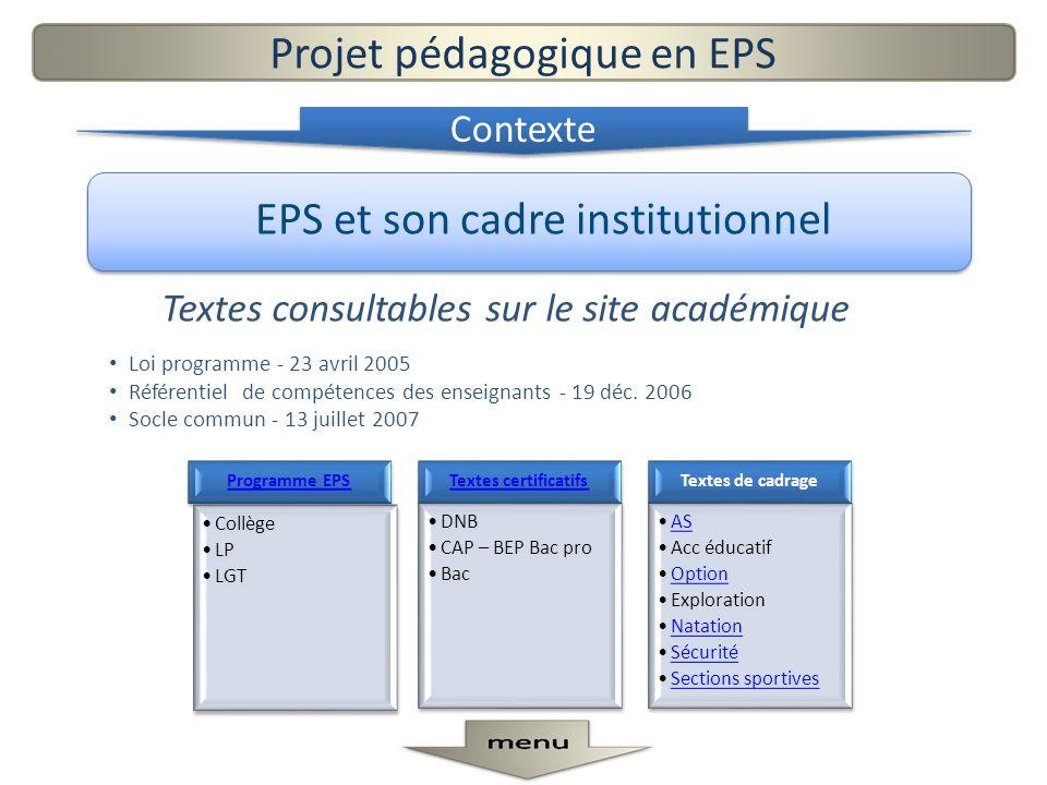 EPS et son cadre institutionnel Textes consultables sur le site académique Loi programme - 23 avril 2005 Référentiel de compétences des enseignants -