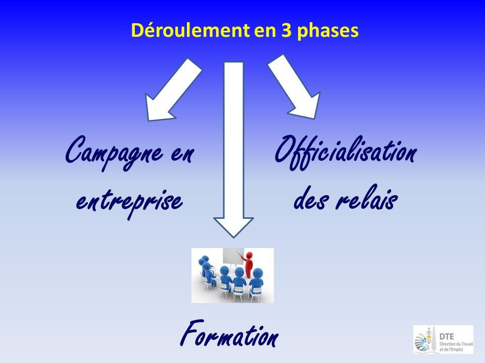 Déroulement en 3 phases Campagne en entreprise Officialisation des relais Formation