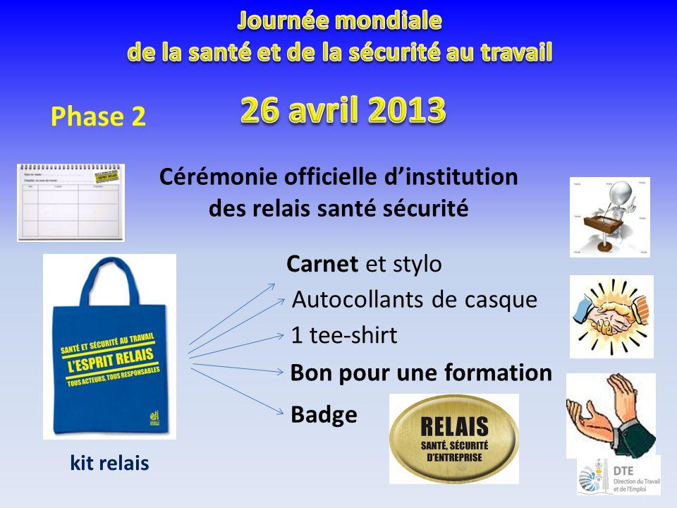 Cérémonie officielle dinstitution des relais santé sécurité Carnet et stylo Autocollants de casque Bon pour une formation Badge 1 tee-shirt kit relais