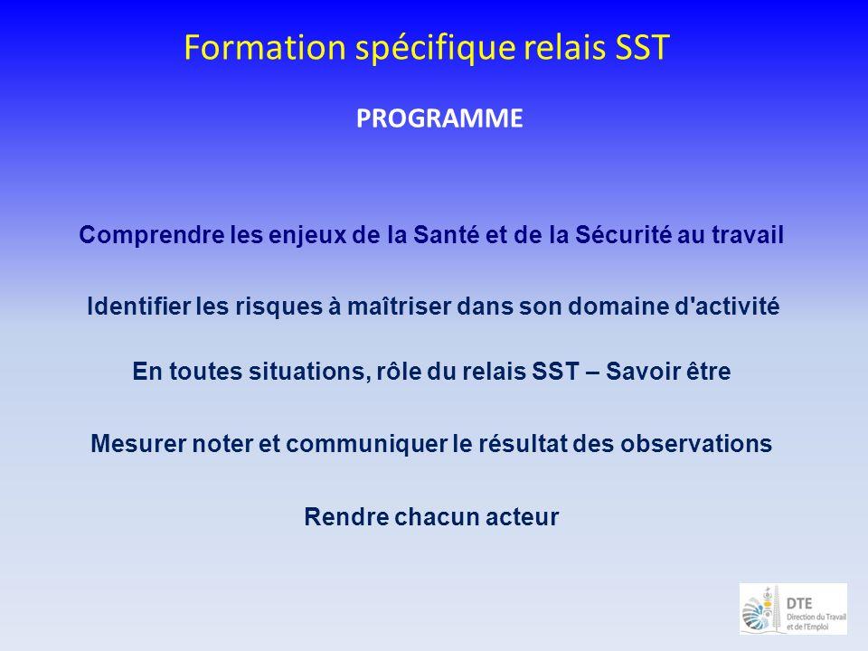 PROGRAMME Formation spécifique relais SST Comprendre les enjeux de la Santé et de la Sécurité au travail Identifier les risques à maîtriser dans son d