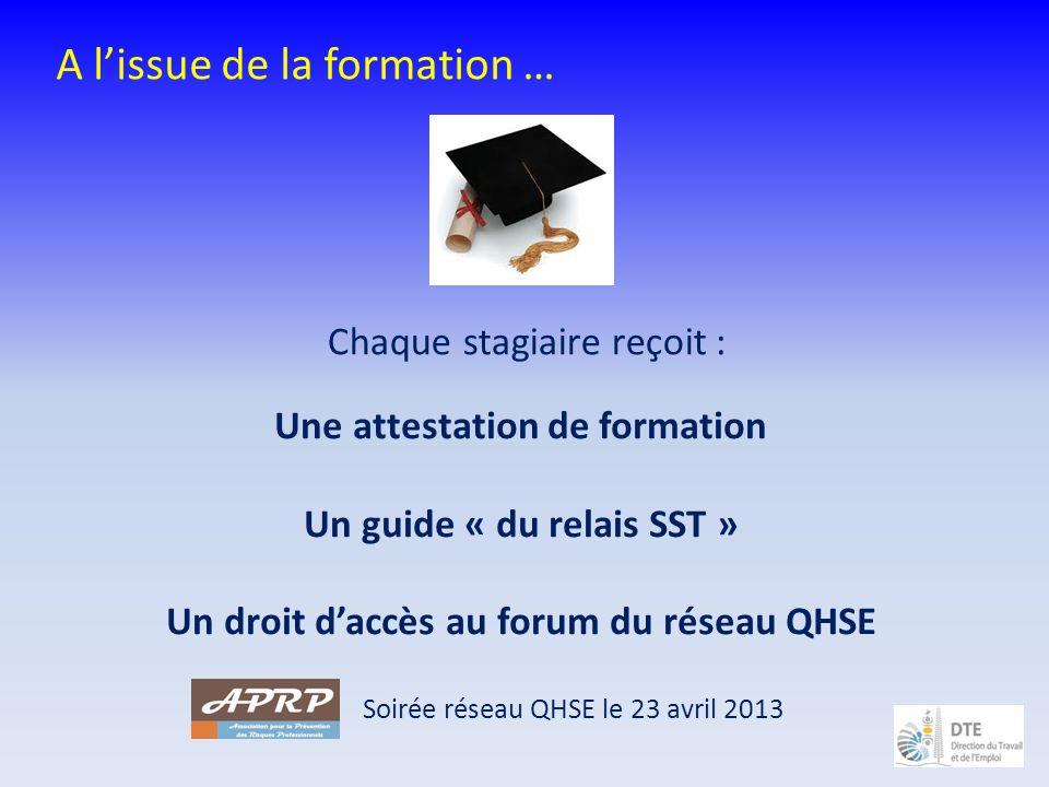 A lissue de la formation … Une attestation de formation Un guide « du relais SST » Un droit daccès au forum du réseau QHSE Chaque stagiaire reçoit : S
