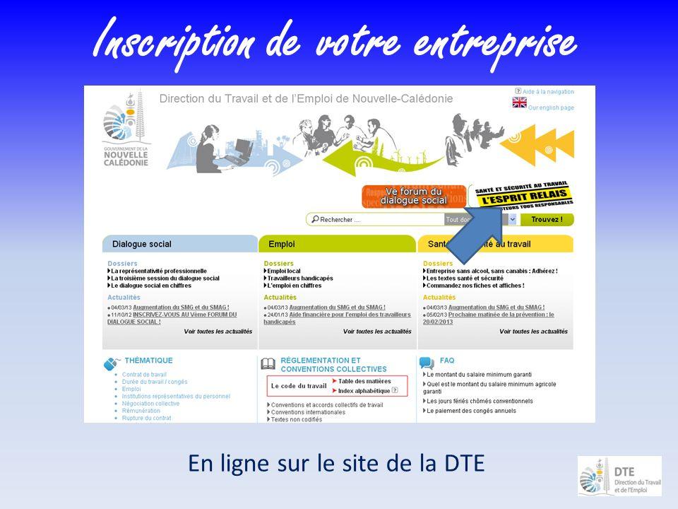 Inscription de votre entreprise En ligne sur le site de la DTE