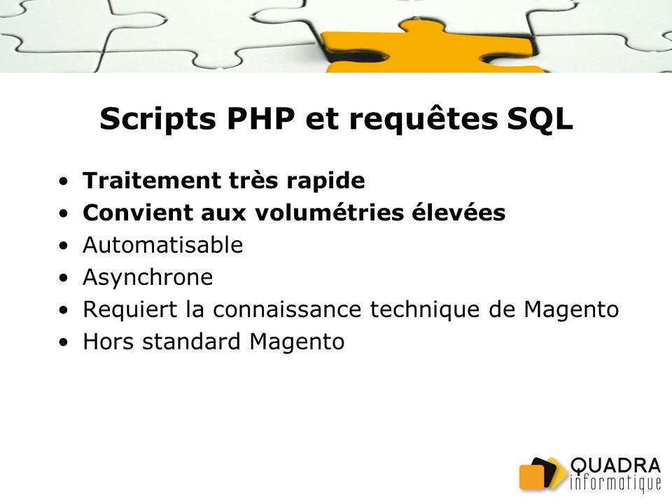 Scripts PHP et requêtes SQL Traitement très rapide Convient aux volumétries élevées Automatisable Asynchrone Requiert la connaissance technique de Magento Hors standard Magento